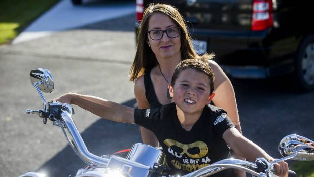 Sarah Blythe with son Neko 6 has started a motorcycle ride to raise money for a programme to educate teachers about