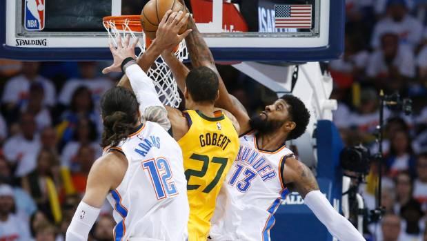 Thunder duo Paul George and Steven Adams combine to block Utah Jazz centre Rudy Gobert's shot