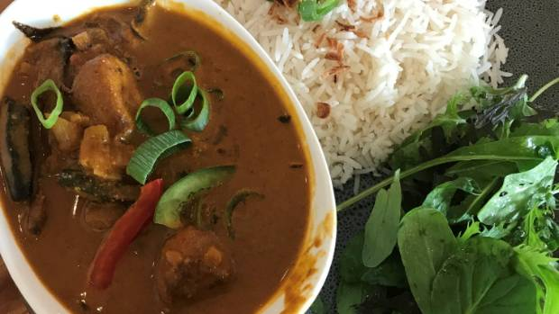 Lazat Malaysian Restaurant, Hamilton.  There's no mud fish in this excellent curry.