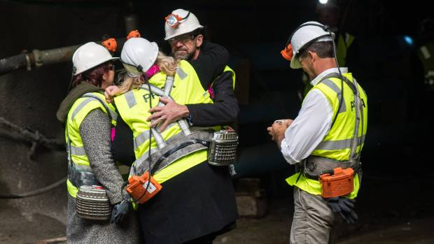 Pike River re-entry minister Andrew Little on the portal of the Pike River mine in April.