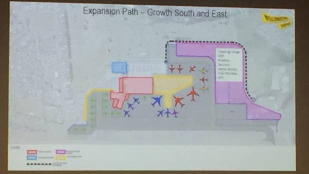 On the plan the purple area, which encroaches on golf course land, will be devoted to aircraft parking. The blue area is ...