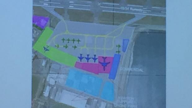 A separate slide shows the airport extension expected to come into effect on the Western Apron.