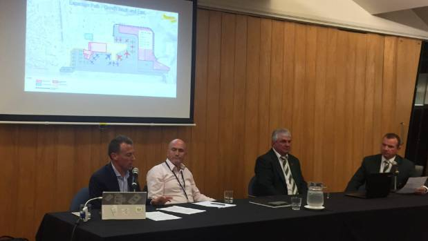 Wellington Airport chief commercial officer Matt Clarke and infrastructure general manager John Howarth present early ...