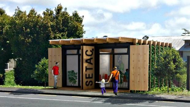 The concept for the shipping container op shop, which will be located in Rānui, West Auckland.