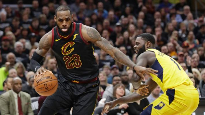 d555dc736b9f Cleveland Cavaliers  LeBron James drives past Indiana Pacers  Lance  Stephenson.