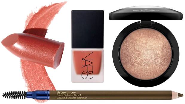 Elizabeth Arden Ceramide Ultra Lipstick in Ginger ($55); NARS Liquid Blush ($47); MAC Mineralise Skinfinish in Global ...