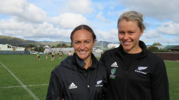 Black Ferns Lesley Elder, left, and Chelsea Alley stopped by Petone Rugby Club for a girl's development day last month.