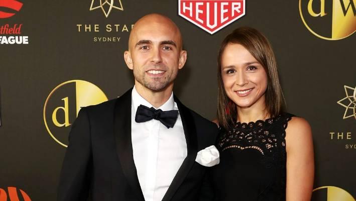 Adrian Mierzejewski And His Partner Arrive Ahead Of The FFA Dolan Warren Awards In Sydney On