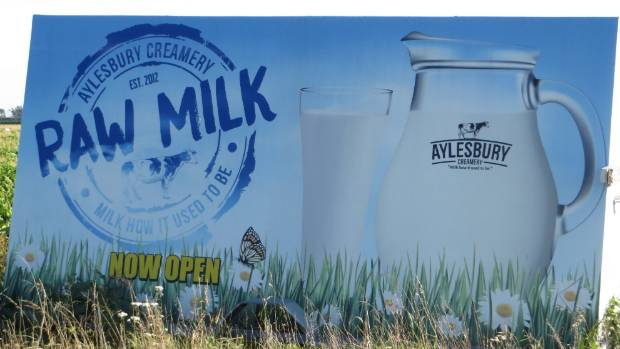 Aylesbury Creamery's sign on the corner of the farm attracts customers.
