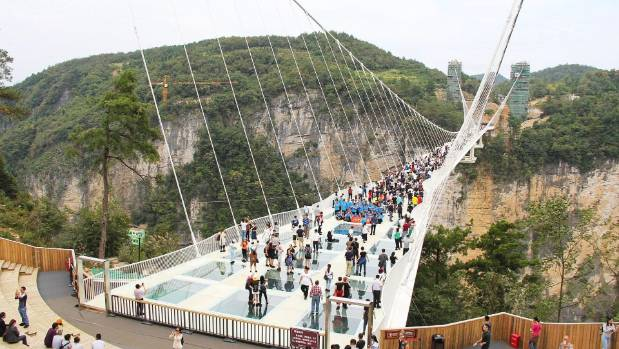 The Zhangjiajie Grand Canyon Glass Bridge sits 298.7m above the canyon floor and is more than 426.7m long.