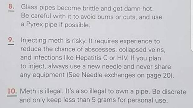 The guide advises users of meth to be discreet and only keep 5 grams for personal use.