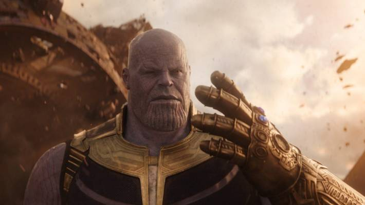Thanos with Infinity Gauntlet.