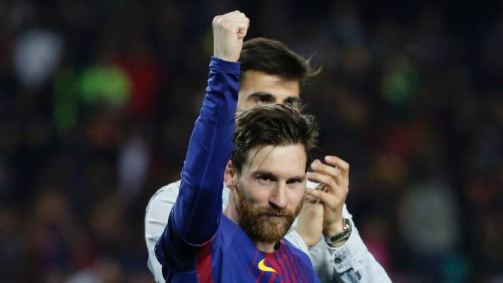 51e766c80ea18 Barcelona s Lionel Messi waves to fans after the Spanish La Liga soccer  match between Barcelona and