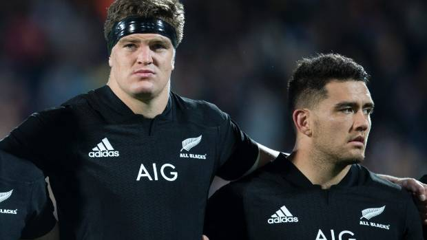 Scott Barrett, left, and Codie Taylor could help form a Crusaders forward pack laden with All Blacks on Saturday.