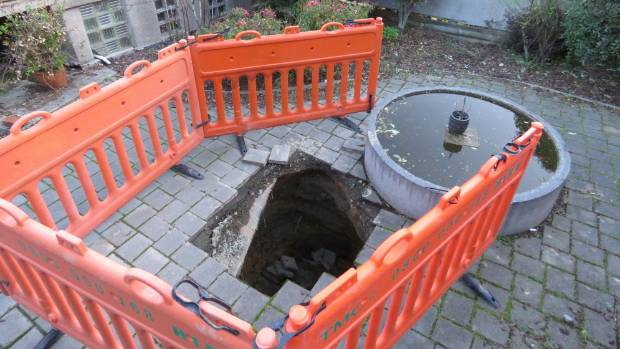 The hole was about two metres wide and three metres deep.
