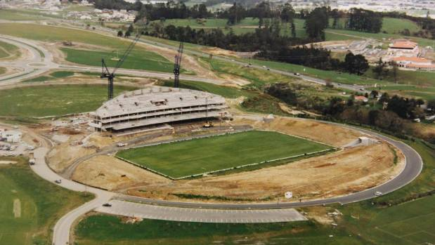 An aerial view of North Harbour Stadium during construction in 1996.
