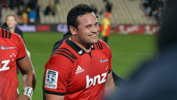 Donald Brighouse of the Crusaders reacts after the win in the round 12 Super Rugby match between the Crusaders and the ...
