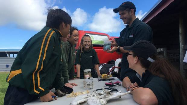 Tori Turner gets students from Hāwera Intermediate excited about veterinary science during an agri-food careers day.