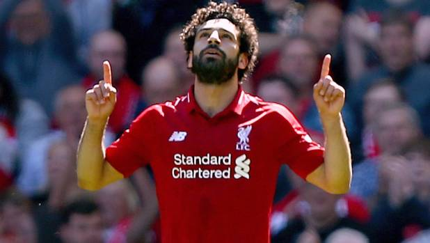 Liverpool's Mohamed Salah celebrates his side's first goal in their 4-0 victory over Brighton & Hove Albion at Anfield