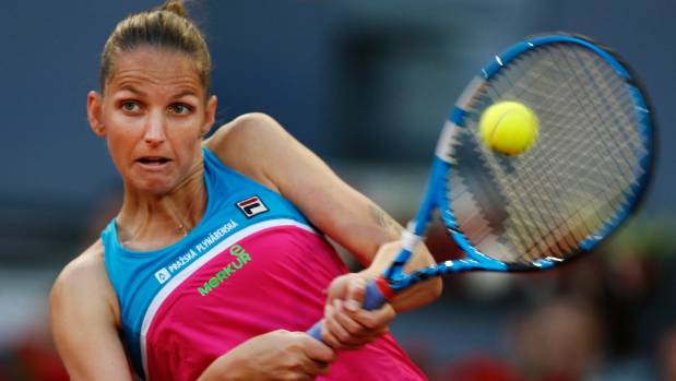 Karolina Pliskova took to the umpire's chair with her racquet after a bad call
