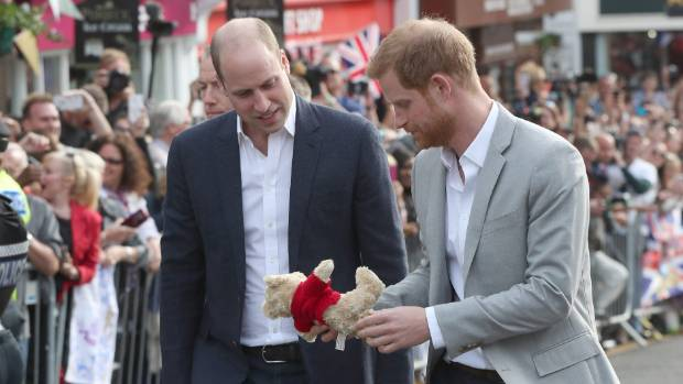 Prince William Duke of Cambridge and Prince Harry greet members of the public on a walkabout ahead of the royal wedding