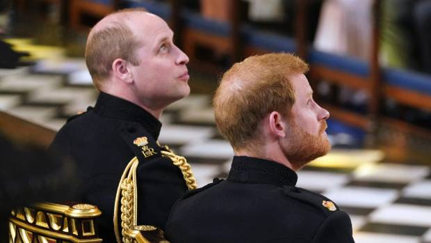 Prince Harry and his best man and brother, Prince William are seated prior to the start of the wedding ceremony.