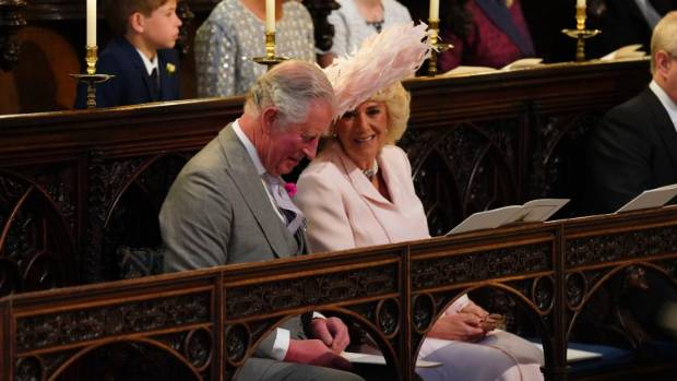 Prince Charles and Camilla, the Duchess of Cornwall, smile during the wedding ceremony.