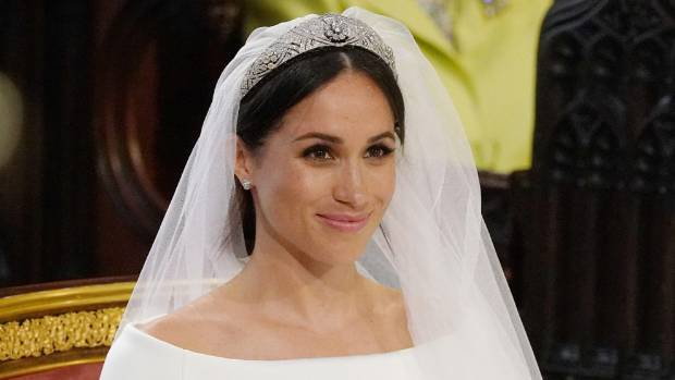 Meghan Markle stands at the altar during her wedding in St George's Chapel at Windsor Castle.