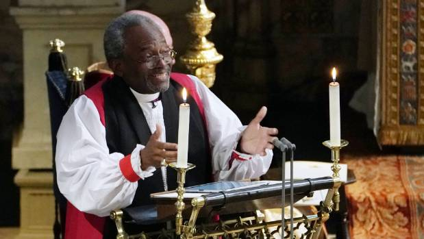 Bishop Michael Bruce Curry paid homage to Duchess Meghan's African American heritage by quoting Martin Luther King Jr