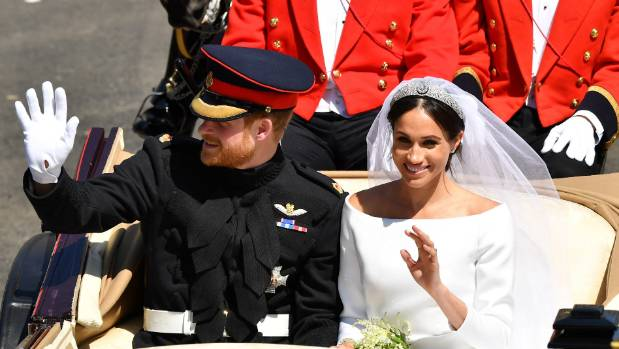 Newly-weds Prince Harry Duke of Sussex and Meghan Duchess of Sussex leaving Windsor Castle