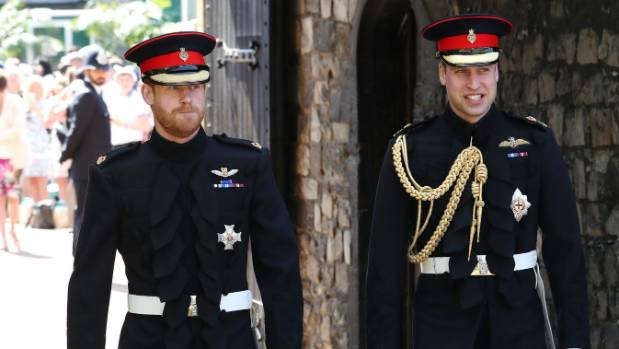 Prince Harry walks with his best man, Prince William as he arrives at St George's Chapel at Windsor Castle for his wedding.