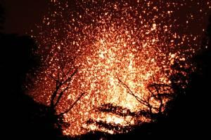 Lava erupts in the Leilani Estates subdivision near Pahoa, Hawaii.
