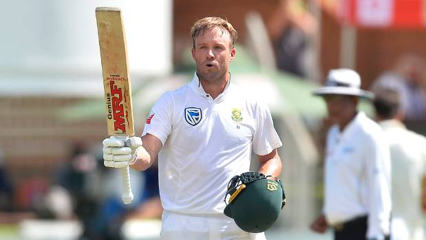 AB de Villiers of South Africa celebrates scoring a century during day 3 of the 2nd test against Australia on March 11