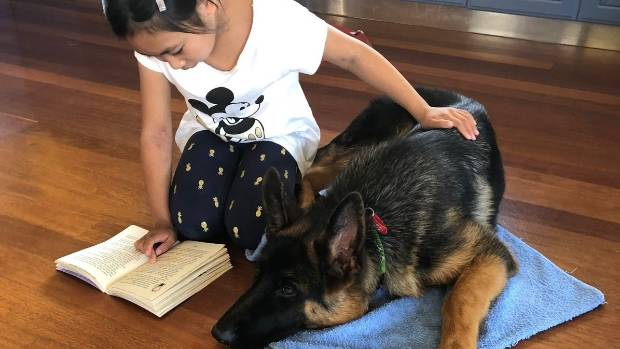 Kimberley, 9, reads a book to Abra.