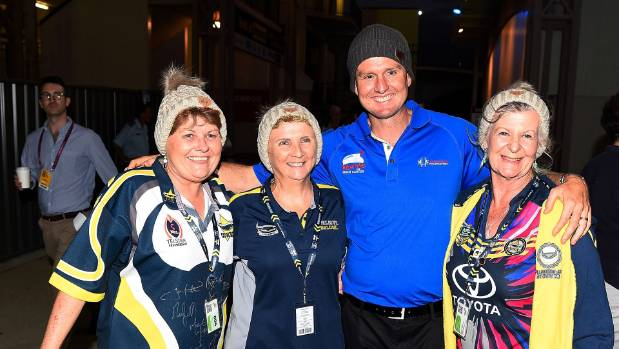 Mark Hughes with Cowboys supporters in Townsville.