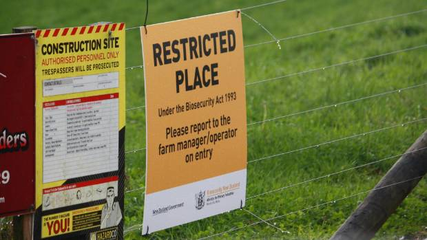 A restricted place notice on the roadside of a Mycoplasma bovis infected farm