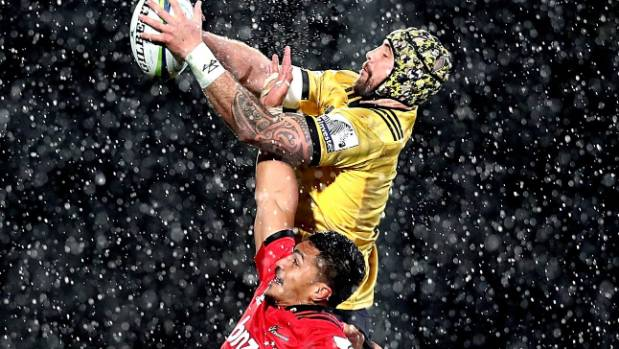 Hurricanes player Blade Thomson and Pete Samu go up for a lineout throw in Christchurch last weekend.