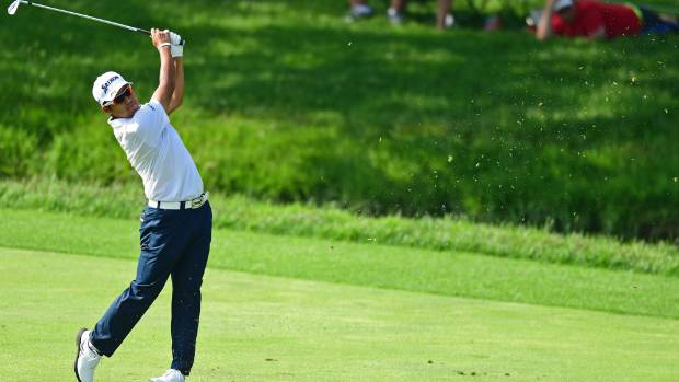 Hideki Matsuyama holed out from the fairway on his way to a seven-under 65 at Muirfield Village on Friday