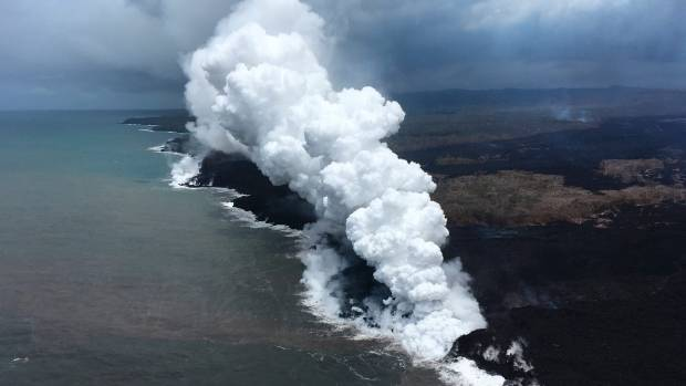 Kilauea Lava Flow Rolls Into Sea at Kapoho Bay
