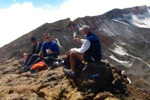 There's no better place for a glass of champagne than on top of a volcano on a glorious day.