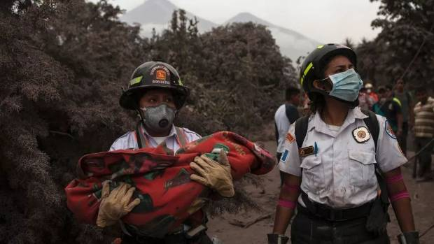 Miraculous rescue of baby buried under volcanic ash