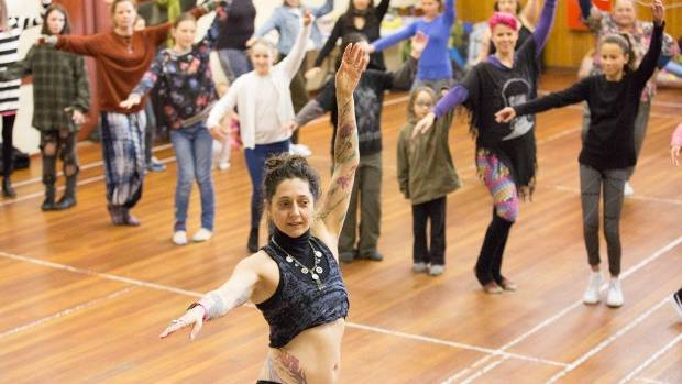 A belly dancing session is held as part of a day of body-positive workshops and discussions at the Bulls Town Hall.