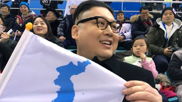 Fake Kim otherwise known as Howard the impersonator during the Winter Olympics in South Korea