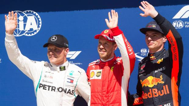 The Canadian Grand Prix top three in qualifying Valteri Bottas, Sebastian Vettel and Max Verstappen