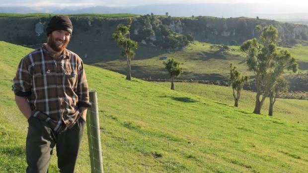 Craigmore Station manager David Bielski. Behind him is Moa Valley, where the limestone outcrops feature historic Maori ...