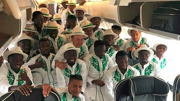 20f997f49 Looking sharp  the Nigerian team suits up in style before heading off to  Russia.