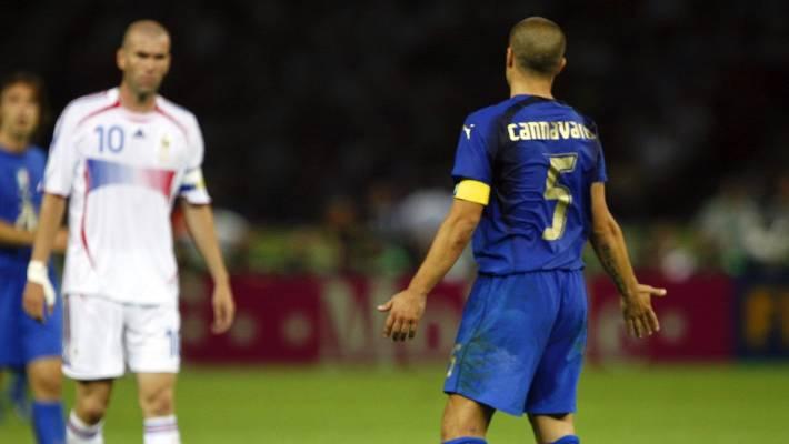 84a6726a5 France s Zinedine Zidane looks on as Italy s Fabio Cannavaro reacts to his  headbutt on Marco Materazzi