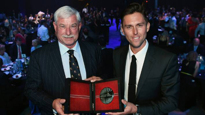 Sir Richard Hadlee and Black Caps spearhead Trent Boult with the award that bears the great fast bowler's name in April.