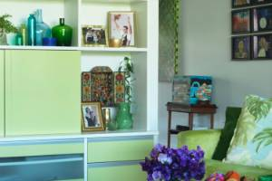 This Devonport  living space feels like spring with its green and citrus colour scheme. .