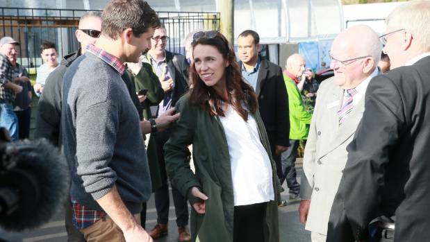 Jacinda Ardern in labour with her first child